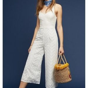 NEW Anthropologie White Floral Eyelet Jumpsuit